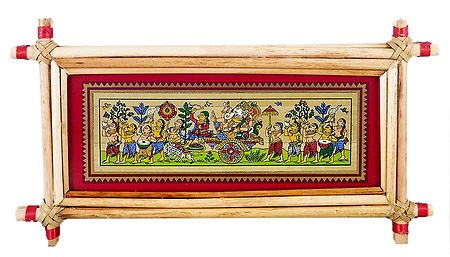 Ganesha on a Chariot - Patachitra on Palm Leaf