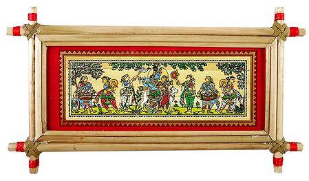 Radha Krishna with Gopinis - Patachitra on Palm Leaf - Framed