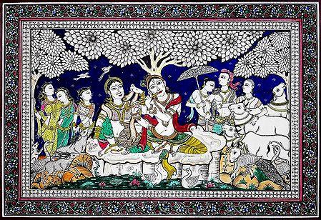 Radha Krishna with Gopa and Gopinis