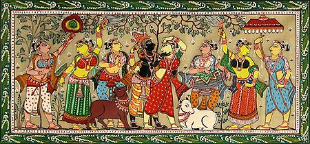 Radha Krishna with Six Gopinis