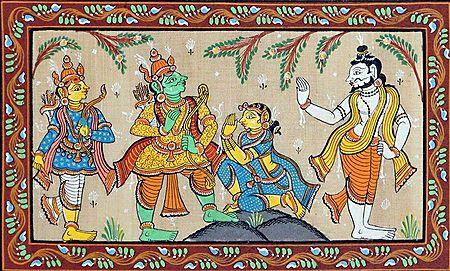 Rama Releasing Ahalya from the Curse of Her Husband Sage Gautami