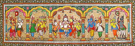 Shiva Parvati Being Worshipped by Other Gods