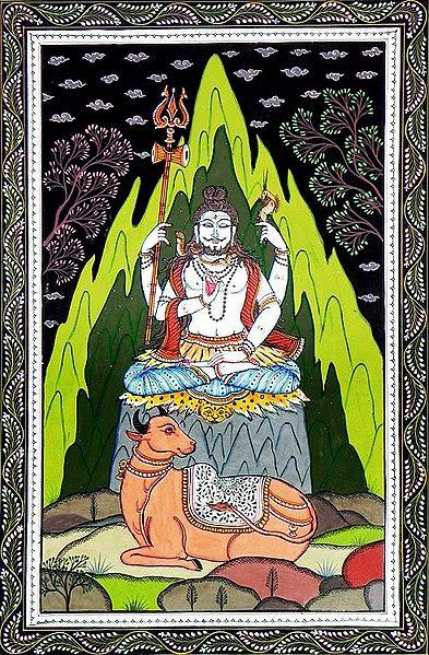 Shiva Meditating at Kailash Parvat and Nandi Sitting in Front of Him