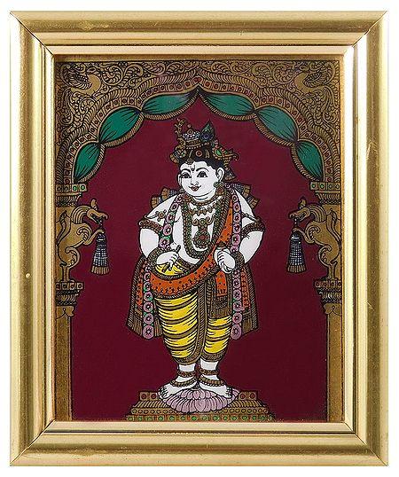 Murlidhara Krishna - Tanjore Glass Painting - Framed