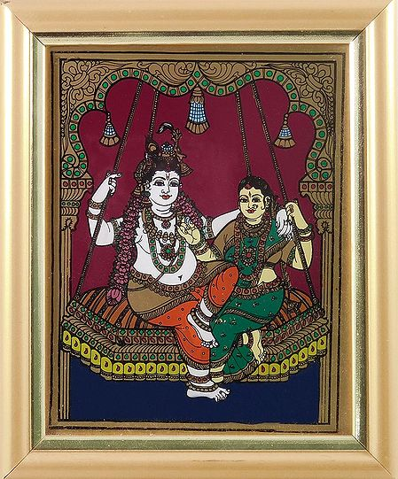 Radha Krishna on a Swing - Tanjore Glass Painting - Framed