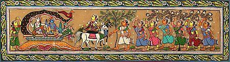 The Tearful Departure of Krishna and Balarama from Vrindavan for Mathura