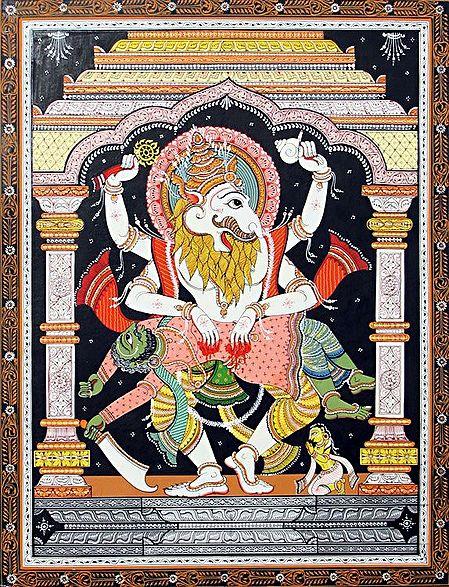 Vishnu as Narasimha Avatar Killing Demon Hiranyakashipu