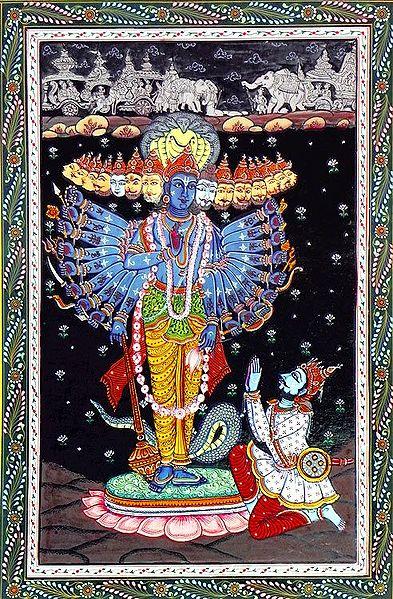 Krishna Revealing His Vishvarupa to Arjuna in Kurukshetra War