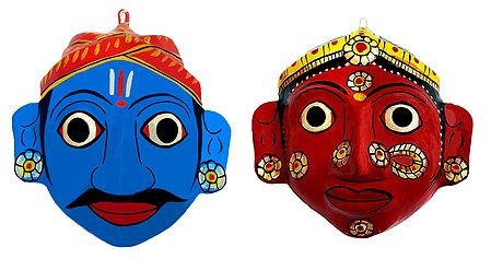Couple Masks from Telengana - Wall Hanging