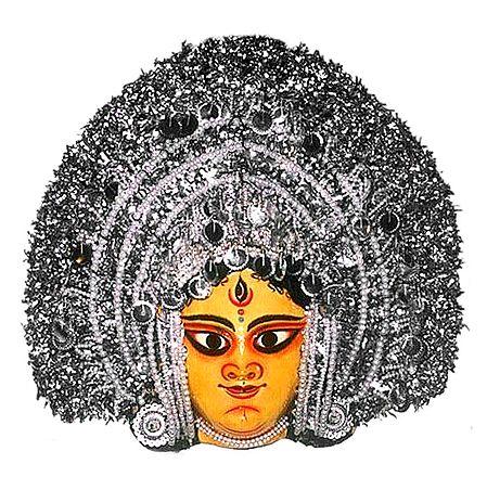 Devi Durga  Chhau Dance Mask - Papier Mache Craft