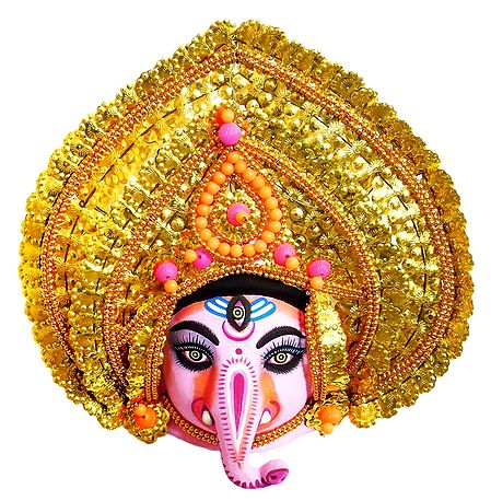 Papier Mache Chhau Dance Ganesha Mask for Wall Decoration