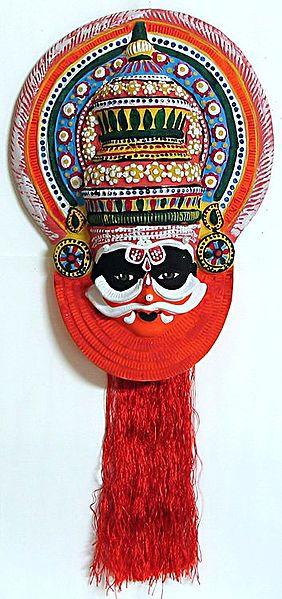 Duhshasan Mask from Mahabharata in Kathakali Style - Wall Hanging