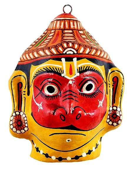 Papier Mache Mask of Hanuman - Wall Hanging