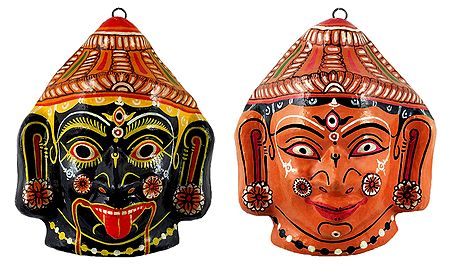 Kali and Durga Papier Mache Mask - Wall Hanging