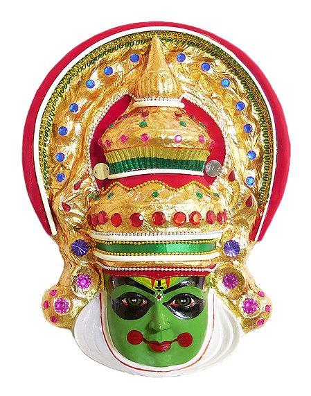 Fibre Kathakali Mask - Arjuna from Mahabharata
