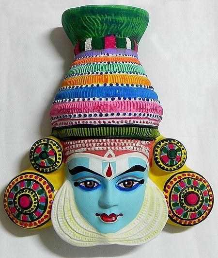 Krishna Mask from Mahabharata in Kathakali Style - Wall Hanging