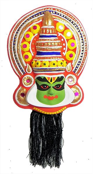 Face of Arjuna from Mahabharata in Kathakali Style - Wall Hanging