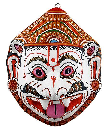 Papier Mache Mask of Narasimha Avatara - Wall Hanging