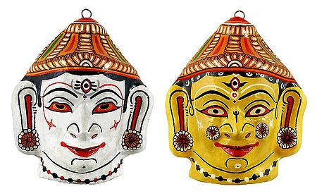 Shiva and Durga Papier Mache Mask - Wall Hanging