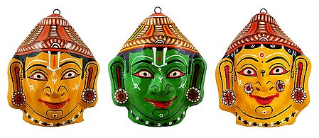 Rama, Lakshmana and Sita Papier Mache Mask - Wall Hanging