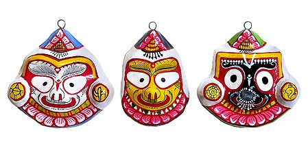 Jagannath,Balaram and Subhadra Mask - Wall Hanging