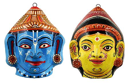 Radha and Krishna Papier Mache Mask - Wall Hanging