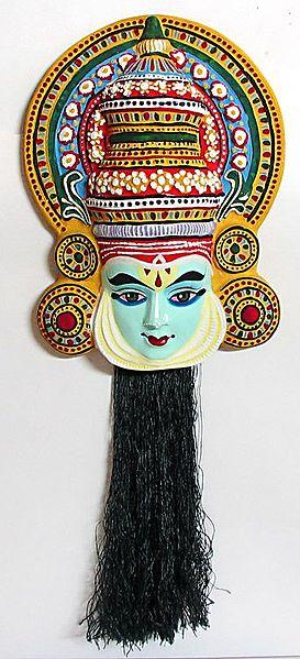 Rama Mask from Mahabharata in Kathakali Style - Wall Hanging