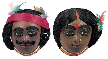 Pair of Santhal Tribal Masks - Set of 2 - Wall Hanging
