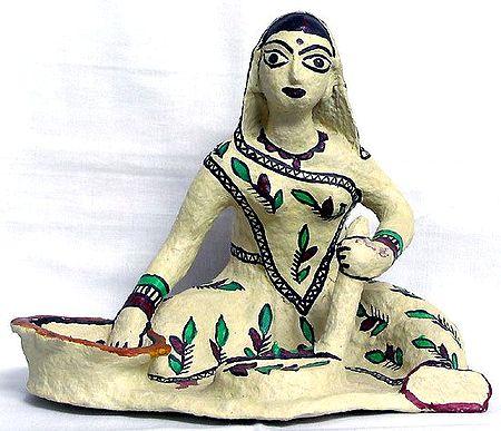Village Woman Grinding Spices - Tribal Art of Bihar