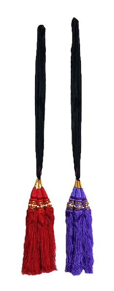 Set of 2 Parandi - For Hair Braids with Red and Purple Tassels