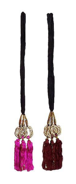 Set of 2 Parandi - For Hair Braids with Magenta and Maroon Tassels