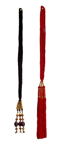 Set of 2 Parandi - For Hair Braids with Red and Bead Tassels