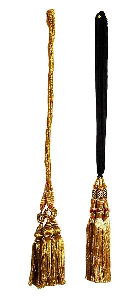 Set of 2 Parandi - For Hair Braids with Golden Tassels
