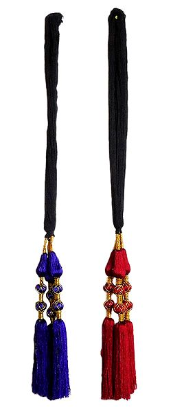 Set of 2 Parandi - For Hair Braids with Purple  and Red Tassels