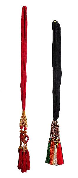 Set of 2 Parandi - For Hair Braids with Red and Multicolor Tassels