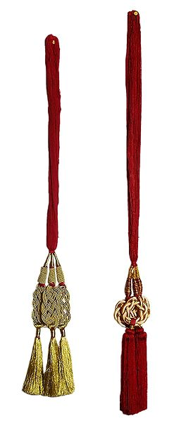 Set of 2 Parandi - For Hair Braids with Golden and Red Tassels