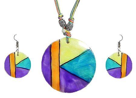Multicolor Lacquered Shell Pendant Set
