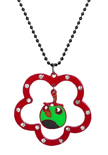 Black Chain with Red Flower Shaped Acrylic Pendant