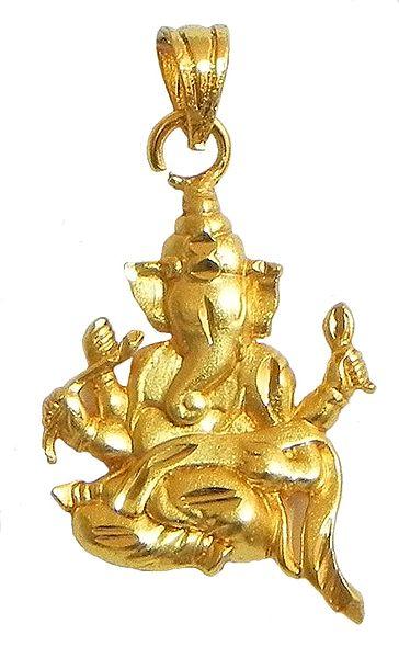 Gold Plated Pendant - Ganesha Writing Mahabharata