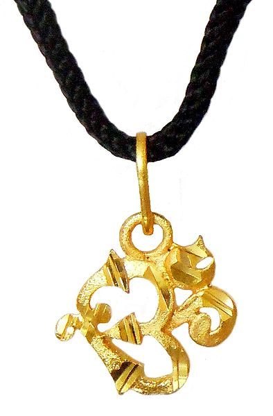 Gold Plated Chain with Om Pendant (Auspicious Hindu Symbol)