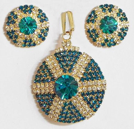 Cyan and White Stone Studded Round Shaped Pendant and Earrings