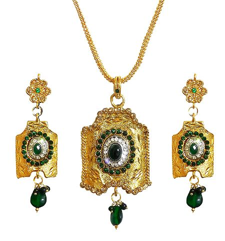 Gold Plated Jali Chain with Pendant and Earrings
