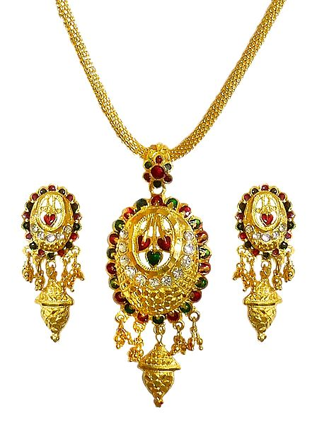 Gold Plated Chain with lacquered Pendant and Earrings