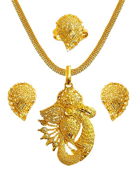 Gold Plated Chain with Pendant, Ring and Earrings