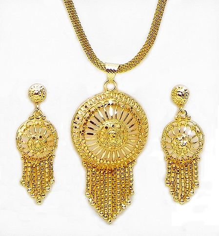 Gold Plated Chain with Jhalar Pendant and Earrings