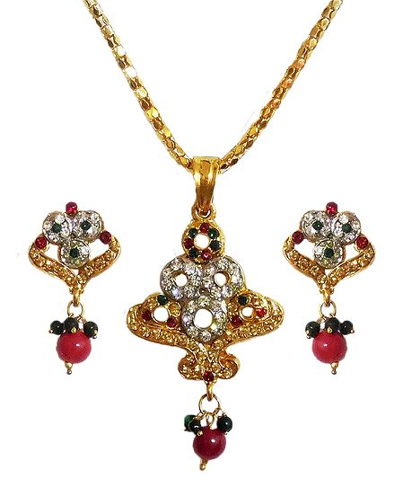 Multicolor Stone Studded Pendant with Chain and Earrings