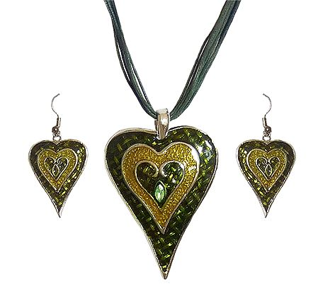 Oxidised Metal Heart Pendant with Earrings
