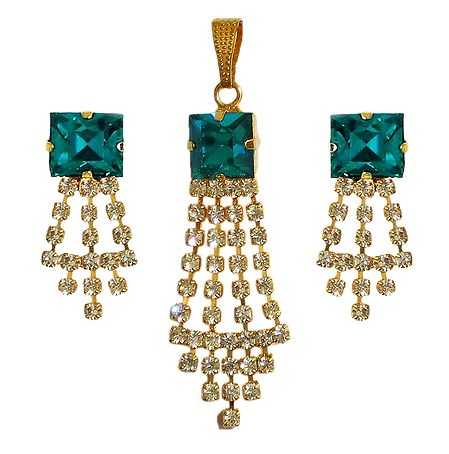 Turquoise and White Faux Zirconia Pendant and Earrings