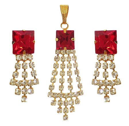 Red and White Faux Zirconia Pendant and Earrings
