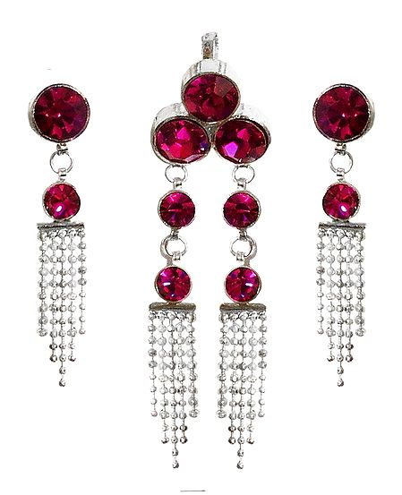 Magenta Stone Studded Pendant and Earrings